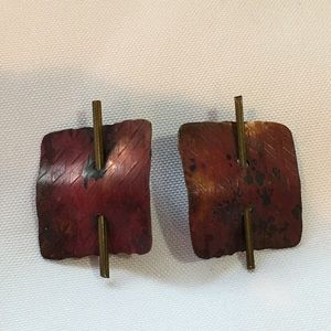 Jewelry - Artist Made Copper & Brass Square Earrings
